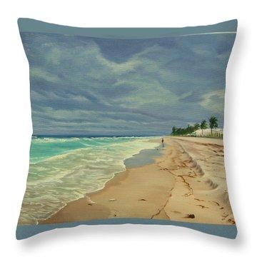 Grey Day On The Beach Throw Pillow by Lea Novak