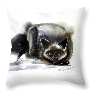 Grey Fox 1 Throw Pillow