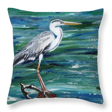 Grey Heron Of Cornwall -painting Throw Pillow
