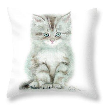 Grey Kitten Throw Pillow
