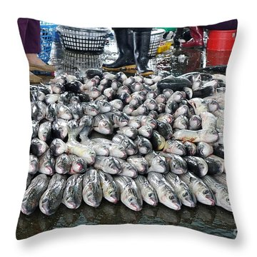 Throw Pillow featuring the photograph Grey Mullet Fish For Sale At The Fish Market by Yali Shi
