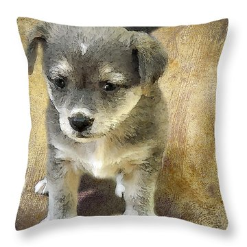Grey Puppy Throw Pillow by Svetlana Sewell