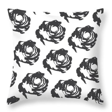 Grey Roses Throw Pillow by Cortney Herron