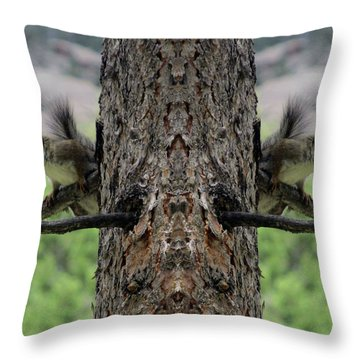 Grey Squirrels On The Look Out Throw Pillow