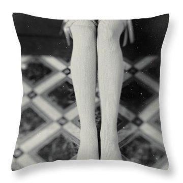 Grey Stockings #6477 Throw Pillow