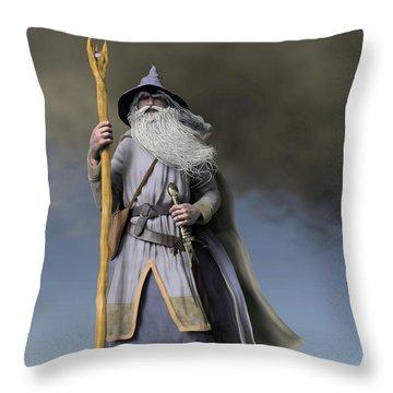 Grey Wizard Throw Pillow by Dave Luebbert