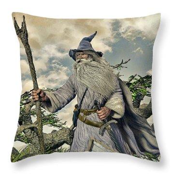Grey Wizard II Throw Pillow by Dave Luebbert