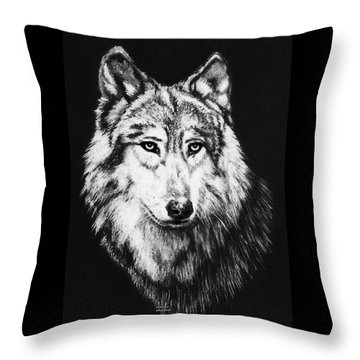 Grey Wolf Throw Pillow