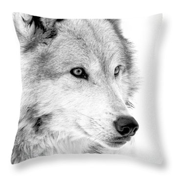 Grey Wolf Profile Throw Pillow