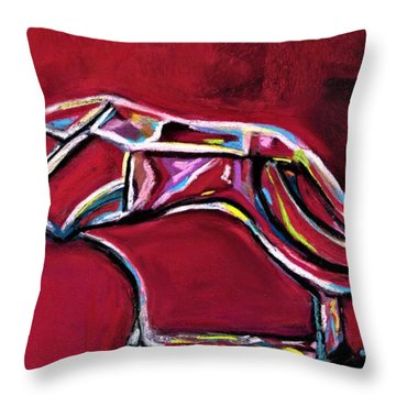 Throw Pillow featuring the painting Greyhound Glass Figurine  by Frances Marino