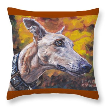 Throw Pillow featuring the painting Greyhound Portrait by Lee Ann Shepard