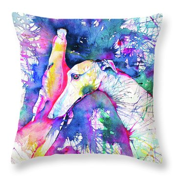 Greyhound Trance Throw Pillow by Zaira Dzhaubaeva