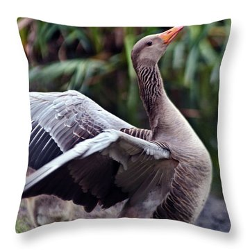 Greylag Goose Poetry Throw Pillow