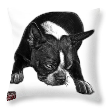 Greyscale Boston Terrier Art - 8384 - Wb Throw Pillow by James Ahn