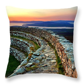 Grianan Fort Sunset Throw Pillow