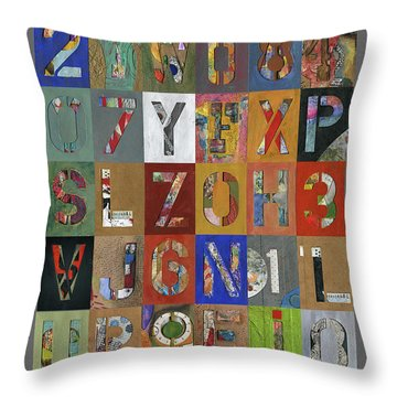Grid Letters Throw Pillow