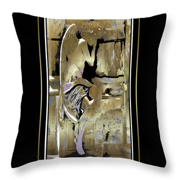 Grief Angel - Black Border Throw Pillow