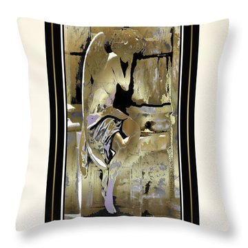 Grief Angel - Light Border Throw Pillow
