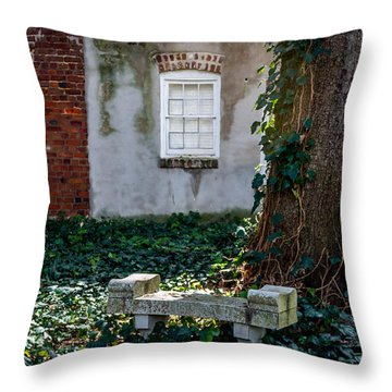 Grieving Bench At St. Philip's Cemetery Throw Pillow