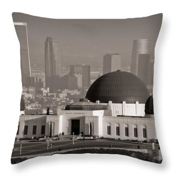 Griffith Observatory Throw Pillow by Adam Romanowicz