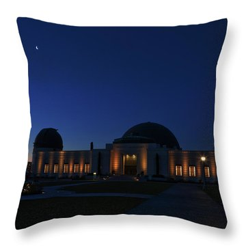 Throw Pillow featuring the photograph Griffith Observatory And Crescent Moon At Blue Hour by Ram Vasudev