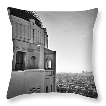 Griffith Observatory And Downtown Los Angeles Throw Pillow