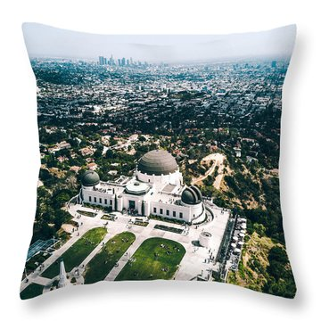 Griffith Observatory And Dtla Throw Pillow by Andrew Mason