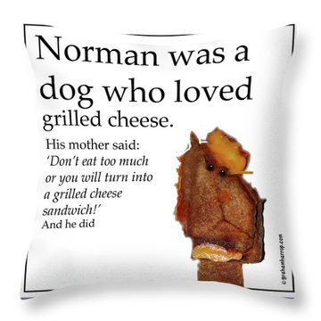 Grilled Cheese Dog Throw Pillow
