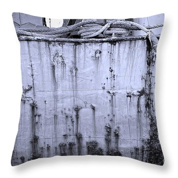 Throw Pillow featuring the photograph Grimy Old Ship Hull by Yali Shi