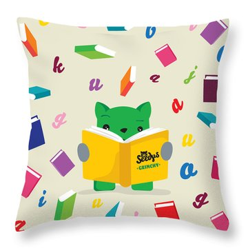 Grinchy And Books Throw Pillow by Seedys