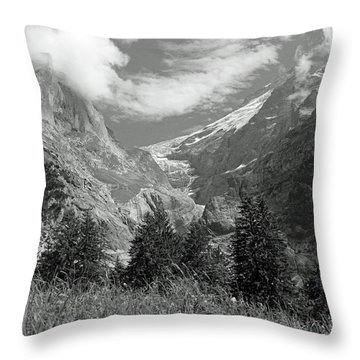 Grindelwald Glacier In Switzerland In Black And White Throw Pillow