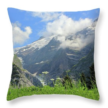 Grindelwald Glacier In Switzerland Throw Pillow by Pixelshoot Photography