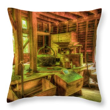 Throw Pillow featuring the photograph Grindingworks Mingus Mill Great Smoky Mountains Art by Reid Callaway