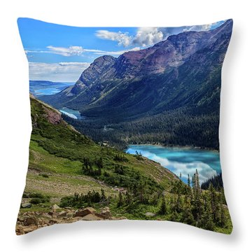 Grinell Hike In Glacier National Park Throw Pillow by Andres Leon