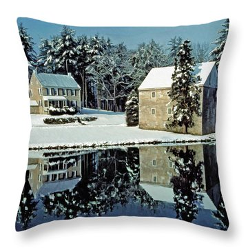 Grings Mill Snow 001 Throw Pillow by Scott McAllister