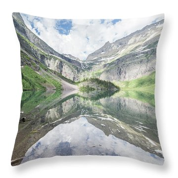 Grinnell Lake Mirrored Throw Pillow