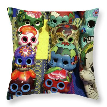 Throw Pillow featuring the photograph Grinning Skulls by John  Mitchell