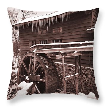 Grist Mill At Siver Dollar City Throw Pillow