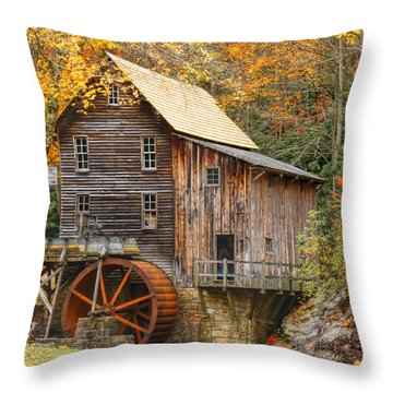 Throw Pillow featuring the photograph Grist Mill In Autumn Hues by Ola Allen