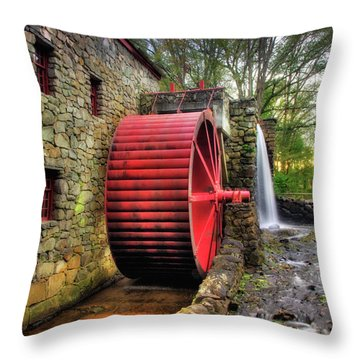 Throw Pillow featuring the photograph Grist Mill In Autumn by Joann Vitali
