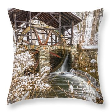 Grist Mill In Fresh Snow Throw Pillow