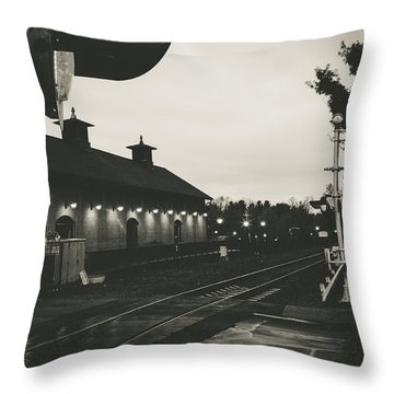 Gritty Railroad Crossing Throw Pillow