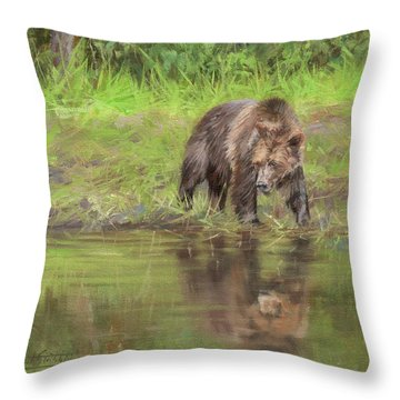 Grizzly Bear At Water's Edge Throw Pillow