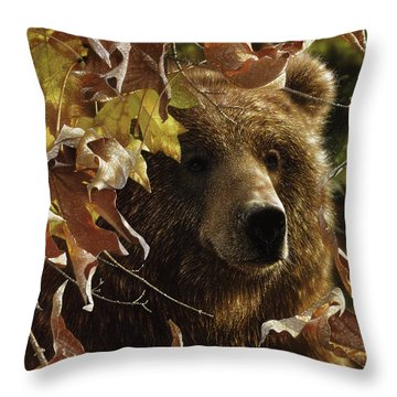 Grizzly Bear - Legend Of The Fall Throw Pillow