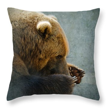 Grizzly Bear Lying Down Throw Pillow by Betty LaRue
