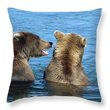 Grizzly Bear Talk Throw Pillow