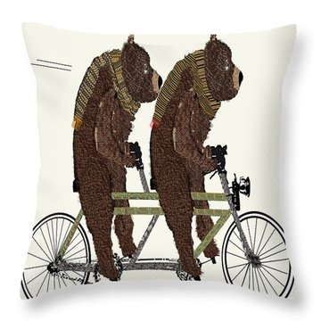 Throw Pillow featuring the painting Grizzly Bears Lets Tandem by Bri B