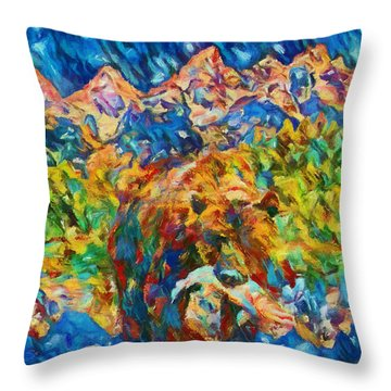Throw Pillow featuring the painting Grizzly Catch In The Tetons by Dan Sproul