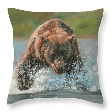 Grizzly Charge Throw Pillow by David Stribbling