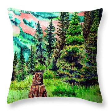 Grizzly Country Throw Pillow by Tracy Rose Moyers